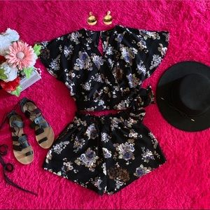 Dresses & Skirts - Black floral top and shorts two piece set